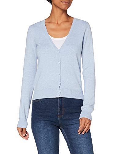Amazon-Marke: MERAKI Baumwoll-Strickjacke Damen mit V-Ausschnitt, Blau (Ocean Blue), 36, Label: S