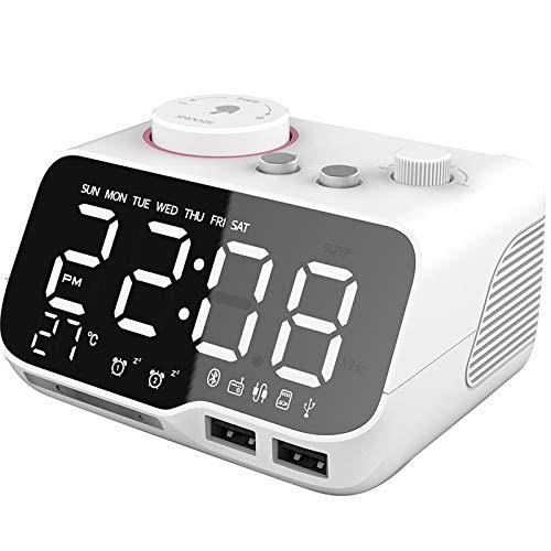 TOOGOO Reloj Despertador Digital Altavoz Radio FM Temperatura Snooze Brillo Dimmer para el Dormitorio Temporizador de Sue?o W Enchufe de la UE