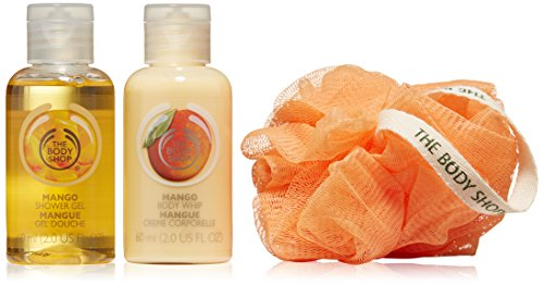 mango beauty cube, body shop, mango shower gel, body lily, 60ml, mango body whip, body shop travel mini set, top 10 gifts for vegan travellers under £10