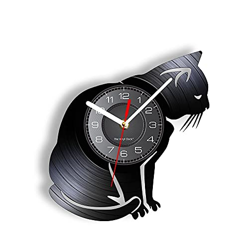 RFTGH Gato Mascota Silueta álbum de Vinilo Reloj de Registro reutilizado Arte de Gatito Disco de Vinilo Manualidades Gatito Propietario decoración del hogar Reloj de Pared