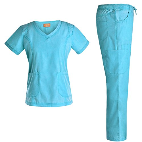 Women Uniforms V Neck Scrubs Set - Jeanish Washed 9 Pockets Fashion Nursing Workwear Women Scrubs JS1601 (TEALGREEN, L)