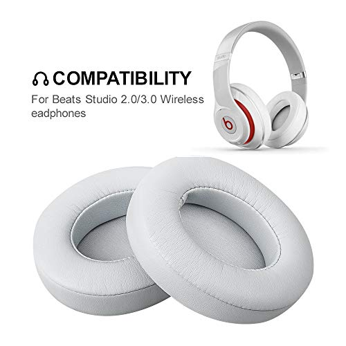 Beats Studio Replacement Ear Pads FEYCH 2 Pieces Noise Isolation Memory Foam Ear Cushions Cover for Beats Studio 2.0 Wired/Wireless B0500 B0501 Headphone & Beats Studio 3.0 (Sliver)