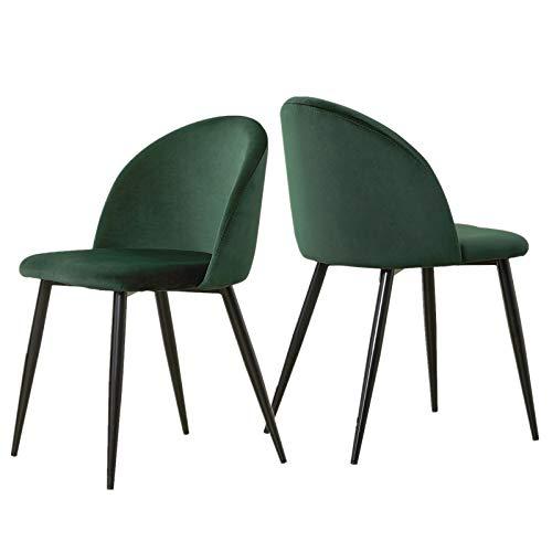 OFCASA 2er Set Weichen Samt Esszimmerstühle Gepolstert Sitz und Rücken Küchenstühle Moderne Stühle mit stabilen Schwarze Metallbeine Stühle für Wohnzimmer Möbel 2 Stück Grün Stühle