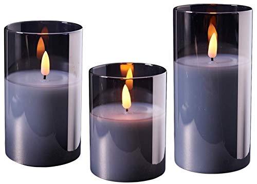 Wunderschöne LED Kerzen im Glas - 3er Set - Timer - Hochwertig & Realistisch - Kerzenset (Grau)