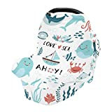 Baby Car Seat Covers for Newborns - Stretch 360 Coverage Infant Carseats Covers Nursing Poncho Breastfeeding Scarf Stroller Canopy Lovely Plants and Garlands Under The Sea