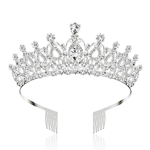 Makone Crystal Crowns and Tiaras with Comb for Girl or Women Birthday Christmas Xmas Halloween Party Valentines Gifts Wedding Tiaras (Style-5)