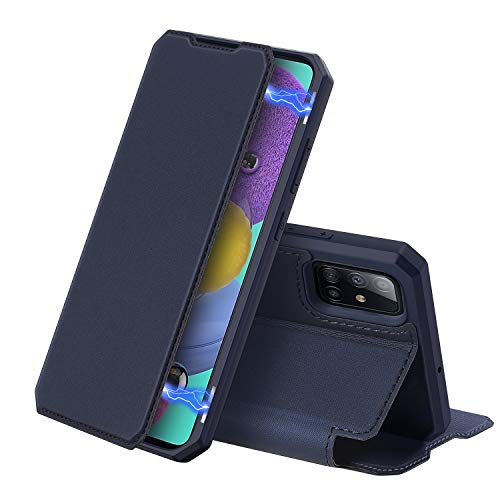 DUX DUCIS Case for Samsung Galaxy A51, Premium Leather Magnetic Closure Flip Case Compatible with Samsung Galaxy A51 (Deep blue)
