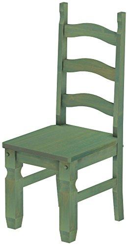 Brasil Furniture Houten stoel, keuze uit verschillende kleuren en kleuren, klassiek, massief hout, houten stoel, woonkamerstoel, leuningstoel, leuning, keukenstoel, landhuis Rustiek Mexiko 112 bamboe mintgroen