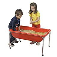 "Children's Factory 24"" Large Sensory Table, Preschool/Homeschool/Playroom, Indoor/Outdoor Play Equipment, Toddler Sand and Water Activity, Red (1133-24)"