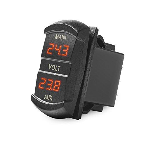 MICTUNING Digitales LED-Voltmeter, Kippschalter-Stil, Spannungsüberwachung für Auto, Pickup, LKW, Dual-Batterie-Pack (rot)