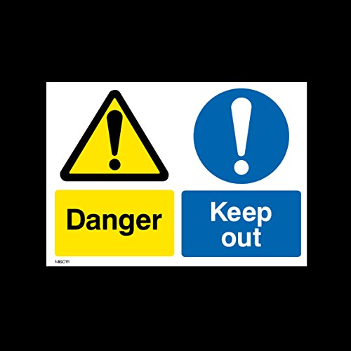 Danger Keep Out Plastic Sign with 4 Pre-Drilled Holes (MISC111) - No Parking, Private Property, Access, Disabled Parking, Vehicle, Warning