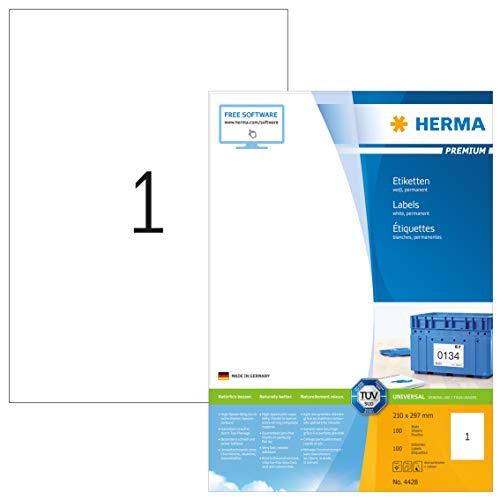 HERMA 4428 Universal Etiketten DIN A4 groß (210 x 297 mm, 100 Blatt, Papier, matt) selbstklebend, bedruckbar, permanent haftende Adressaufkleber, 100 Klebeetiketten, weiß