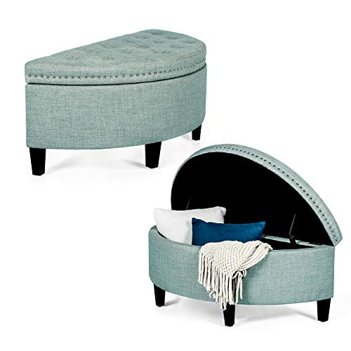 Homebeez Storage Ottoman Bench Tufted Half Moon Bench for Entryway Living Room (Light Blue)