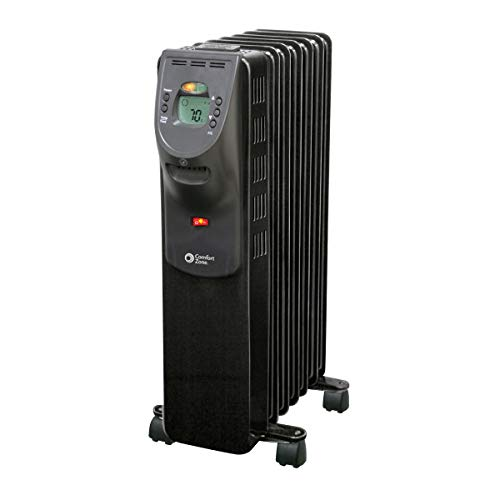 Comfort Zone CZ9009 1500 Watt Oil-Filled Digital Radiator Heater with Silent Operation, Black Heater Oil Space