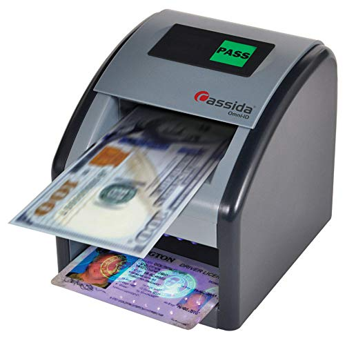 Cassida Omni-ID 2-in-1 Currency Counterfeit Detector with UV Identification Verification Lights – Bill Checker with Infrared, Magnetic and Ultraviolet Sensors - Easy to Read Pass/Fail Display