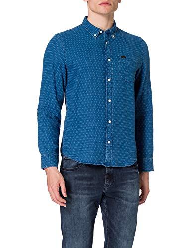 Lee Button Down Camisa, Azul Lavado, L para Hombre