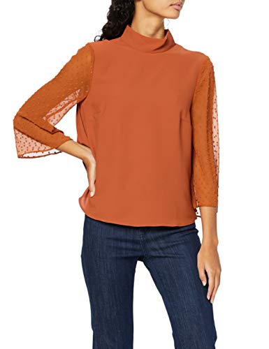 Amazon-Marke: find. Bluse Damen mit Plissee-Falten und Stehkragen, Orange (Orange), 38, Label: M
