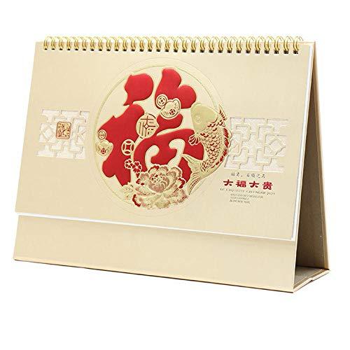 Chinesische Wochentischkalender 2021 Press Everyday Kalender 2021 für das Mondjahr des Ochsen,27x8x17.5cm,Chinesisches Schriftzeichen
