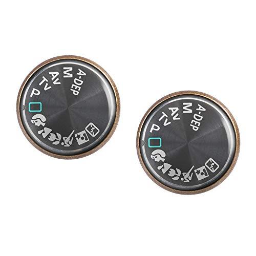 Orecchini coppia con motivo Fotocamera digitale icone DSLR-dial bronzo 16mm