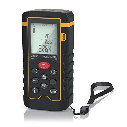 Brandson - Misuratore di distanza laser digitale - Distanziometro laser - Misurazione di distanze, superfici, volumi - fino a 40m - accuratezza di misurazione e -1mm - Categoria laser II - Auto Off