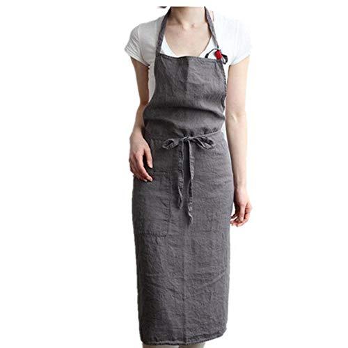 Schürze Leinen Schürze Kellner Arbeitskleidung Geschenk Schürze Home Küche Anti-Fouling Barista-China_Dark_Gray_68cm*55cm