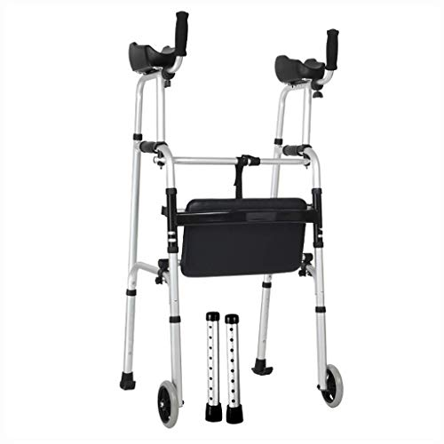 ZXL Aluminium Faltbare Gehhilfe - Walker - Rollator mit Armstütze und Rad Für ältere Menschen (Farbe: B)