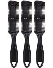 Lurrose 6pcs peine cortador de pelo negro doble lado adelgazamiento del cabello peine de la maquinilla de afeitar