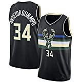DIMOCHEN Movement Ropa Jerseys de Baloncesto para Hombres, NBA Bucks 34# Antetokounmpo, Fresco, cómodo, Camiseta Uniformes Deportivos Tops(Size:S,Color:G1)