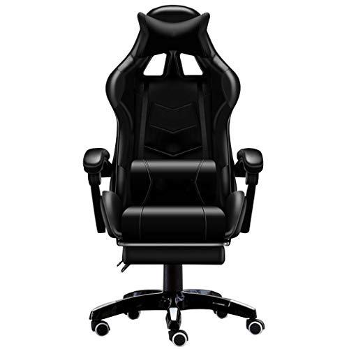 Silla de oficina, Butaca de juego, silla de la computadora, silla de atletismo Bar Internet, Silla de oficina, reposapiés retráctil, Presidente libremente ajustable, soporte lumbar ajustable (cuatro c