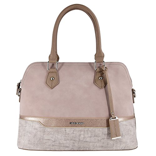 David Jones - Sac à Main Femme Bugatti - Cabas Fourre-Tout Bandes Cuir PU Multicolore Porté Epaule Bandoulière - Tote Shopper Elégant - Satchel Dame Mode Ville Chic Tendance Original - Rose Nude