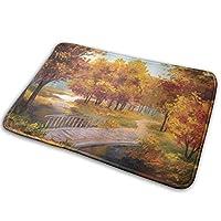 NIESIKKLA バスマット、公園の秋の森の葉小さな川木製の素朴な橋の画像、マット滑り止め ソフトタッチ 丸洗い 洗濯 台所 脱衣場 キッチン 玄関やわらかマット 40x 60cm