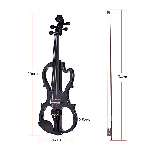 Fesjoy Violino Stradivari Ammonio VE-201 Dimensione Piena 4/4 Legno Massiccio Violino Elettrico Silenzioso Corpo di Maple Fiddle Pegs di Barrette in Ebano Chin Rest Tailpiece con il Sintonizzatore di