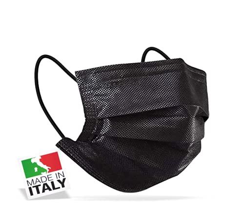 50 Mascherine Chirurgiche Made in Italy Certificate CE di Tipo II Adulti BFE  98% in Bustine da 10 (50 pcs) (Nero)