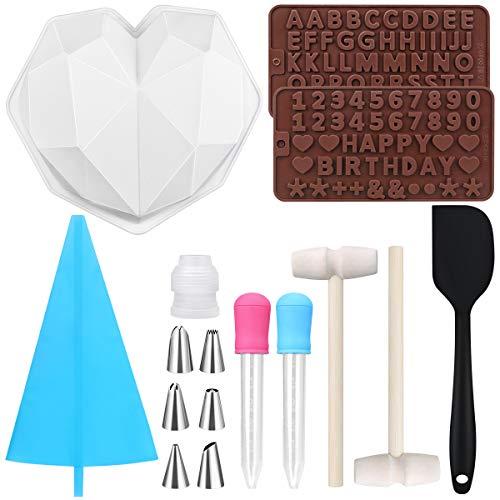 16 Pezzi Diamond Heart Mousse Cake Stampo in Silicone Kit, con Stampi Alfanumerici per Cioccolato in Silicone per la Produzione di Cioccolato Torta Caramelle Fai Strumenti di Cottura per la Cucina