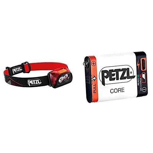 PETZL Actik Core Linterna Frontal, Unisex Adulto, Rojo, Talla Única + E99ACA, Batería Recargable Compatible con Linterna Hybird, Blanco