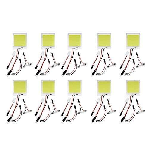BOINN 10 Piezas/Conjunto 48SMD COB Blanco LED T10 BA9S Panel Interior del Coche Bombillas de LáMpara de Mapa de Domo