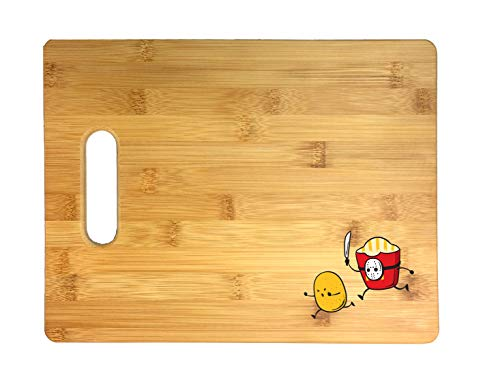 French Fried Jason Funny Horror Film Parody Thick 3D COLOR Printed Bamboo Cutting Board - Wedding, Housewarming, Anniversary, Birthday, Mother's Day, Gift