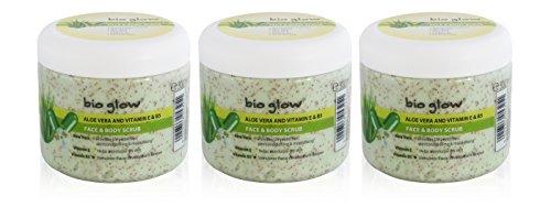 Bio Glow Aloe Vera Lot de 3 gommages visage et corps Vitamine E et B5 Protection UV 300 ml