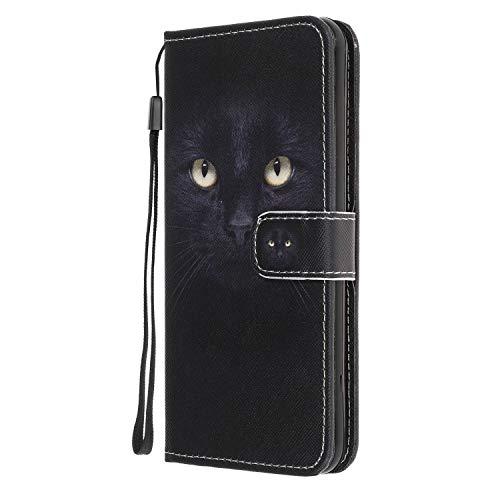 Reevermap Samsung Galaxy A21S Hülle Samsung A21S Handyhülle Kunstleder Hülle Brieftasche Magnet Flip Cover Stoßfeste Klapphülle mit Standfunktion für Samsung Galaxy A21S Schwarze Katze