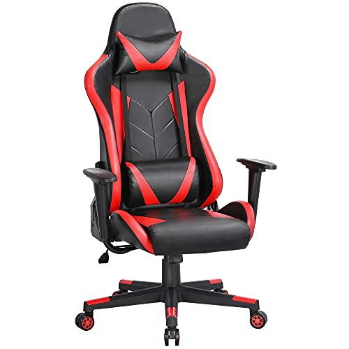 Yaheetech Gaming Stuhl Racing Stuhl Bürostuhl ergonomischer Schreibtischstuhl Drehstuhl Höhenverstellbare Chefsessel mit verstellbare Kopfstütze, Lendenstütze, PC Stuhl 150 kg belastbarkeit