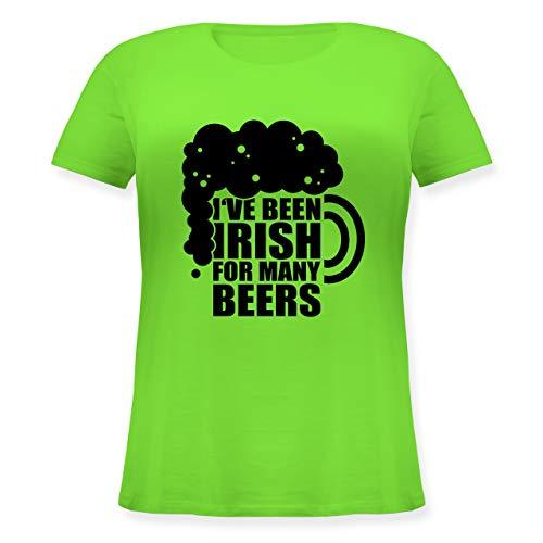 St. Patricks Day - I've Been Irish for Many Beers - schwarz - L - Hellgrün - Geschenk - JHK601 - Lockeres Damen-Shirt in großen Größen mit Rundhalsausschnitt