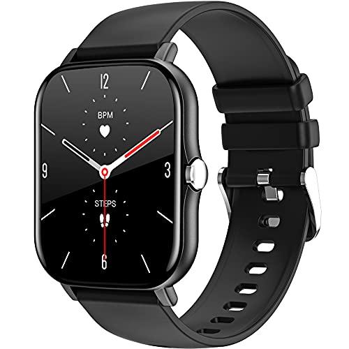 LEMFO Smartwatch da uomo con schermo tattile da 1,69 pollici, con schermo personalizzato, frequenza cardiaca, contapassi, calorie, impermeabile IP68, per iOS e Android