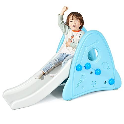 COSTWAY Kinder Rutsche Kunststoff; Gartenrutsche für Kinder ab 6 Monaten, Rutschbahn Kleinkinderrutsche für Indoor & Outdoor (Blau)