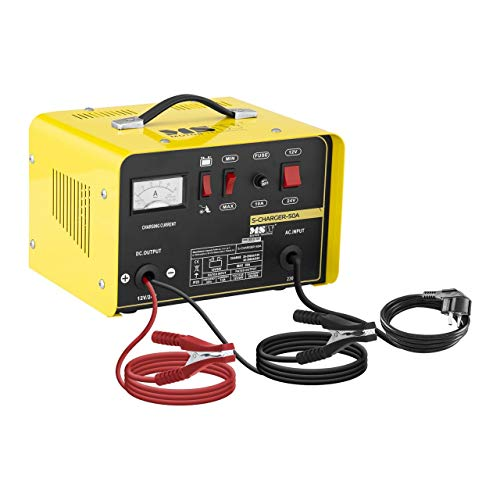 MSW Autobatterie Ladegerät Kfz Batterieladegerät S-CHARGER-50A (Starthilfe-Funktion, 12/24 V Ladespannung, 20/30 A Ladestrom, 130 A Startstrom, 20-300 Ah)
