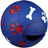 BDUK Dog Toy Ball Durable Rubber IQ Interactive Food Dispensing Snack Ball Pet Treat Feeder Tooth Cleaning Ball Toy Pet Exercise Game Ball Training Chasing and Treating Toy for Dog and Cat (Blue)