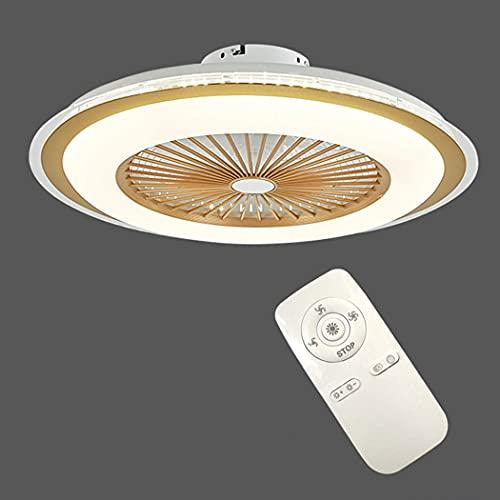 Ventilador de techo LED de 80 W con iluminación,moderno ventilador invisible Luz de techo ultra silencioso Velocidad del viento ajustable y temperatura de color Sala de estar Dormitorio Ventilador (C