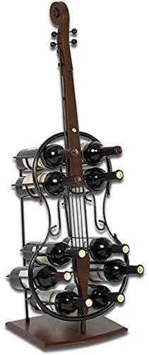 YYHAD Pratico scaffale per Bottiglie di Vino, Wine Rack Nero Free Standing Piano di immagazzinaggio del Metallo Shelf 10 Bottiglia Ornament Decor Kitchen Bar Cantina (Chitarra)