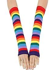 QERMULA Vrouwen Meisje Gebreide Over Elleboog Lange Arm Warmers US Vlag Regenboog Strepen Patchwork Vingerloze Handschoenen met Duim Gat Party Kostuum Winter Handschoenen