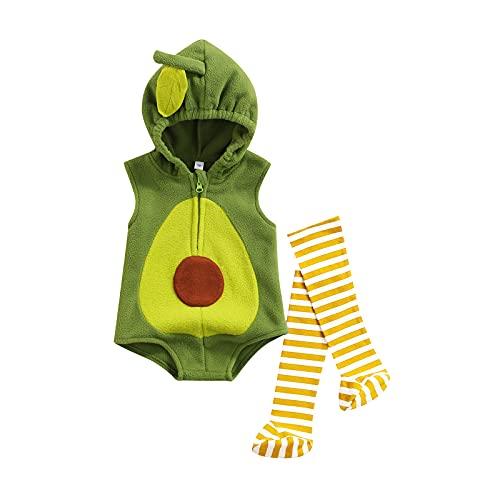 Wytyjxccyy Newborn Infant Baby Girl Boy Costume Avocado Cosplay Sleeveless Hooded Bodysuit Stockings 2Pcs Outfit (6-12 Months,Green)