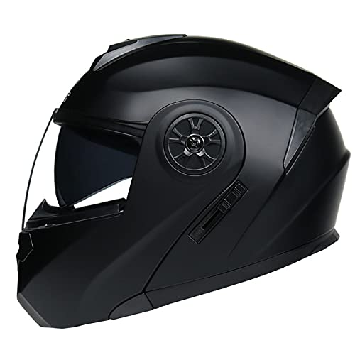 IDWX Casco De Motocicleta para Adultos, Casco De Motocicleta Abatible, Lente Doble Universal De Cuatro Estaciones, S-XL, Lente Transparente